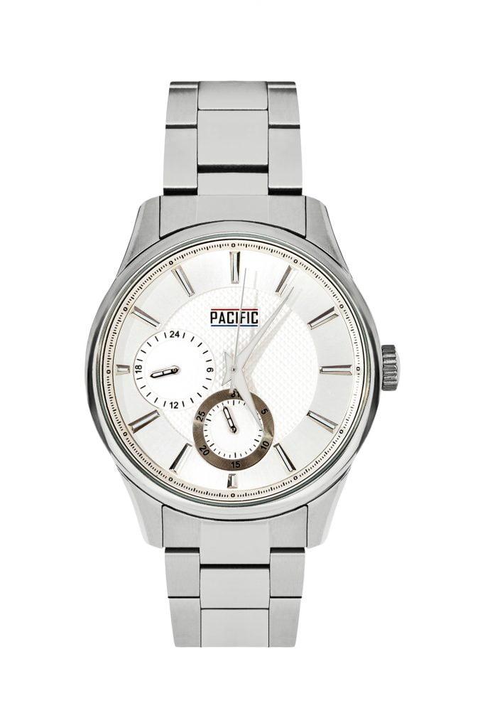 Zdjęcie zegarka z białym tlem.