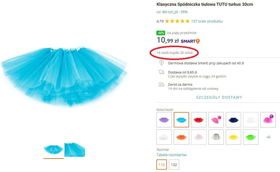 """Przykład, jak zrobić dobre zdjęcia na Allegro, które sprzedaje. Prawidłowo wykonane zdjęcie spódniczki typu """"duch""""."""