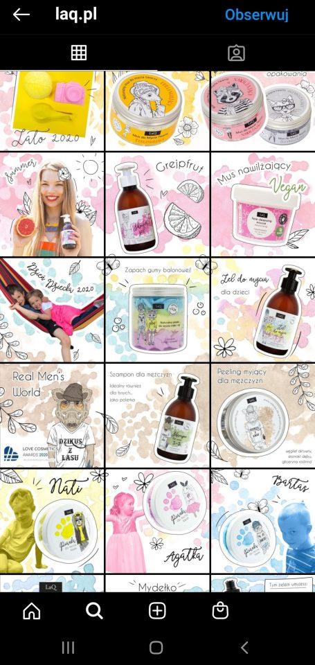 Zdjęcia na Instagramie - przykład profilu marki kosmetycznej.